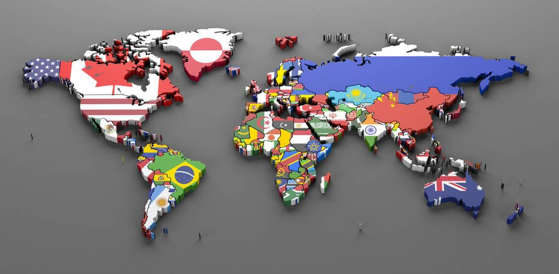World Countries Flags Map Symbols 3d Render