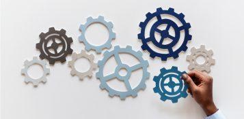 Hand manipulating gears
