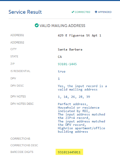 Example of abbreviated address return from Service Objects' address validation tool with barcode highlighted