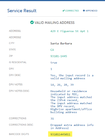 Example of full address return from Service Objects' address validation tool with barcode highlighted