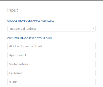 Example of full address input