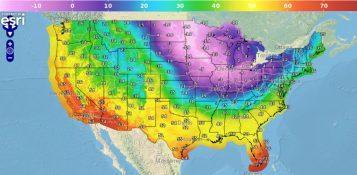 Weather map of the US with January 2019 Polar Vortex temperatures
