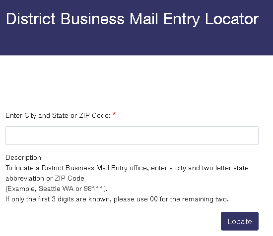 District Business Mail Entry Locator