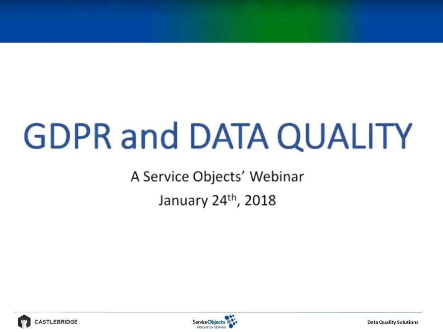Webinars: The Role of Data Quality in the General Data Protection Regulation