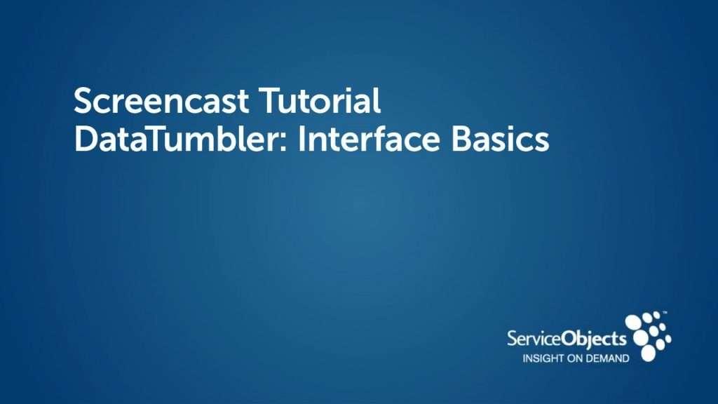 DataTumbler: Interface Basics